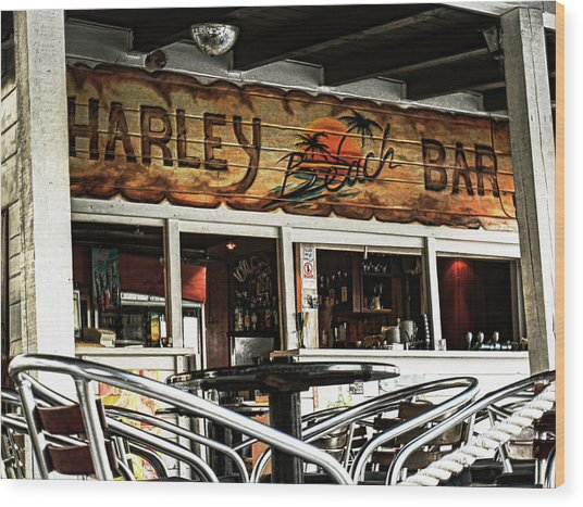 Harley Beach Bar Wood Print