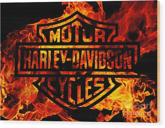 Harley Davidson Logo Flames Wood Print