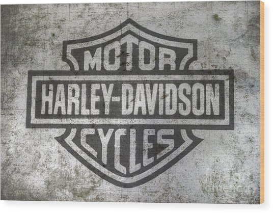 Harley Davidson Logo On Metal Wood Print
