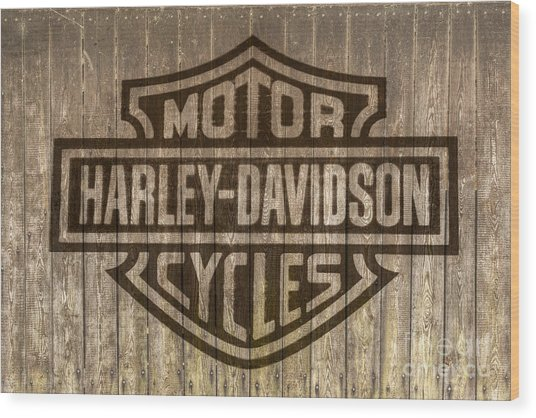 Harley Davidson Logo On Wood Wood Print