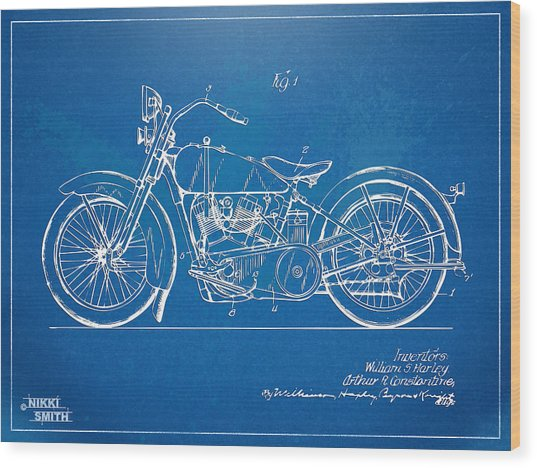 Harley-davidson Motorcycle 1928 Patent Artwork Wood Print