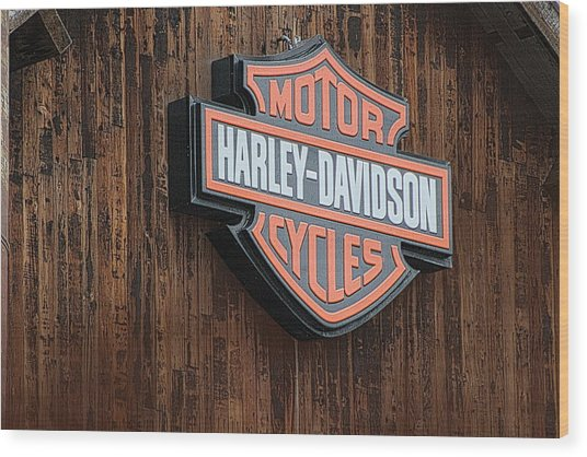 Harley Davidson Sign In West Jordan Utah Photograph Wood Print