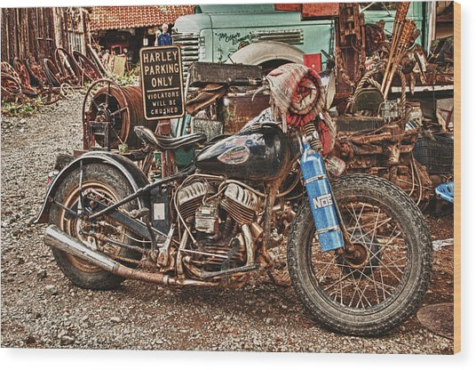 Harley Parking Only Wood Print