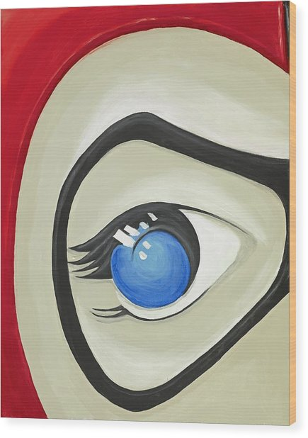 Harley Quinn Eye Wood Print