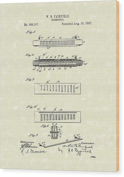 Harmonica Fairfield 1897 Patent Art Wood Print