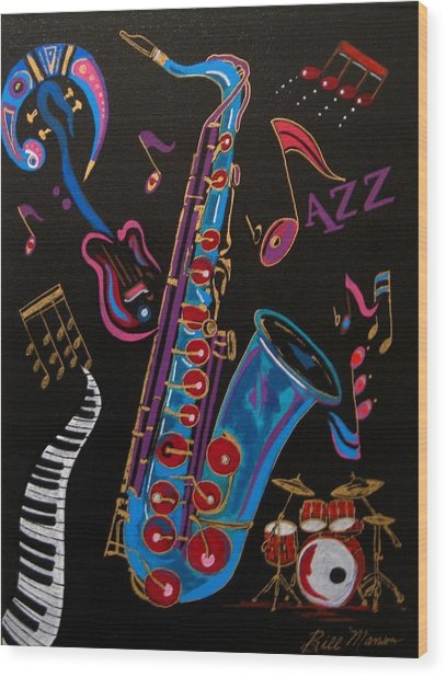 Harmony In Jazz Wood Print