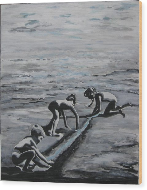 Harnessing The Ocean Wood Print by Naomi Gerrard