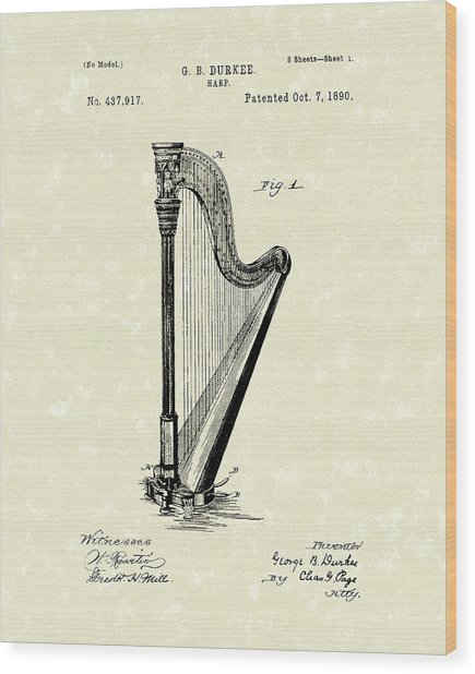 Harp 1890 Patent Art Wood Print