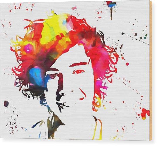 Harry Styles Paint Splatter Wood Print