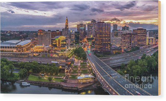 Hartford Ct Riverside And Downtown Twilight Aerial Panorama Wood Print