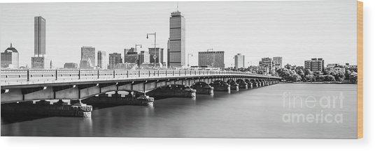 Harvard Bridge Boston Skyline Panorama Photo Wood Print
