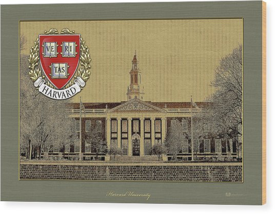 Harvard University Building Overlaid With 3d Coat Of Arms Wood Print
