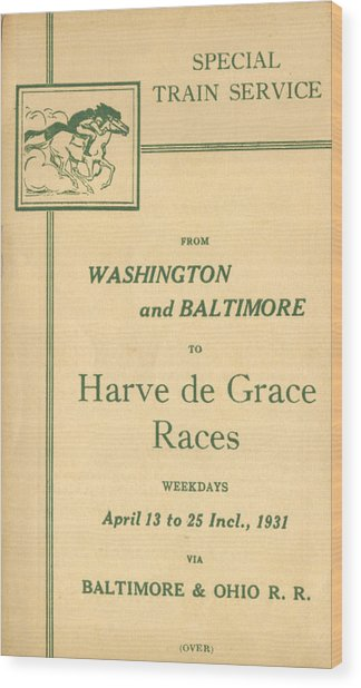 Harve De Grace Races Wood Print