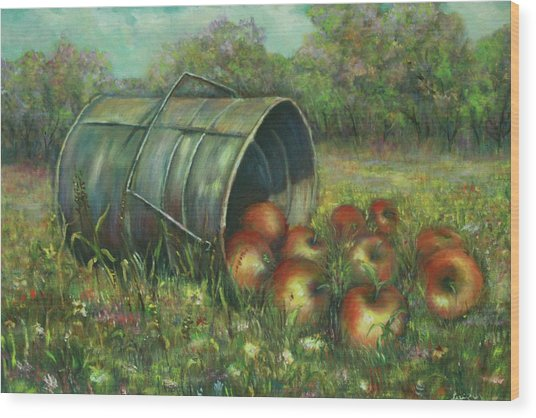 Harvest With Red Apples Wood Print by Katalin Luczay