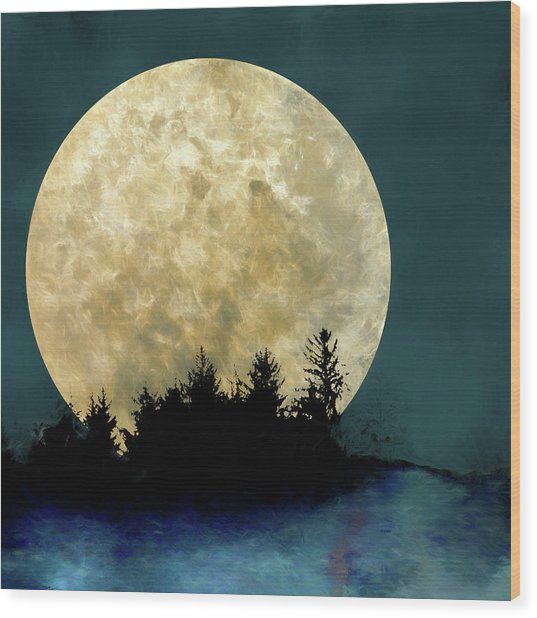 Harvest Moon And Tree Silhouettes Wood Print