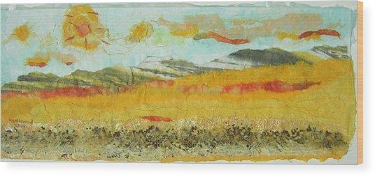 Harvest Time On The Prairies Wood Print by Naomi Gerrard