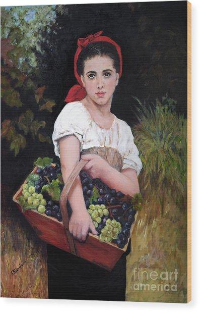 Harvesting The Grapes Wood Print