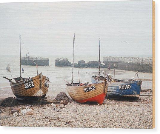 Hastings England Beached Fishing Boats Wood Print by Richard Singleton