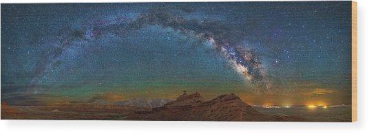 Hat Rock Milky Way Wood Print