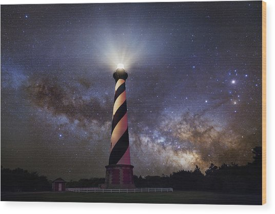 Hatteras Lighthouse And Milky Way Wood Print