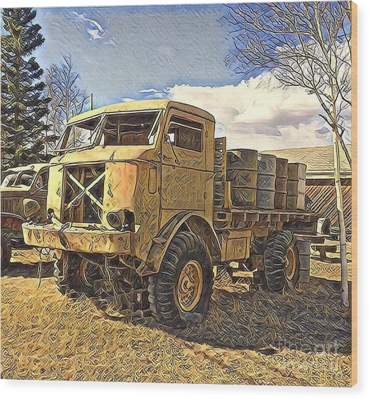 Hauling Oil Barrels On Old Canol Pipeline Project Wood Print
