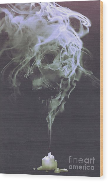 Wood Print featuring the painting Haunted Smoke  by Tithi Luadthong