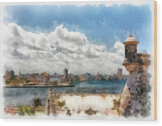 Havana From El Morro Wood Print