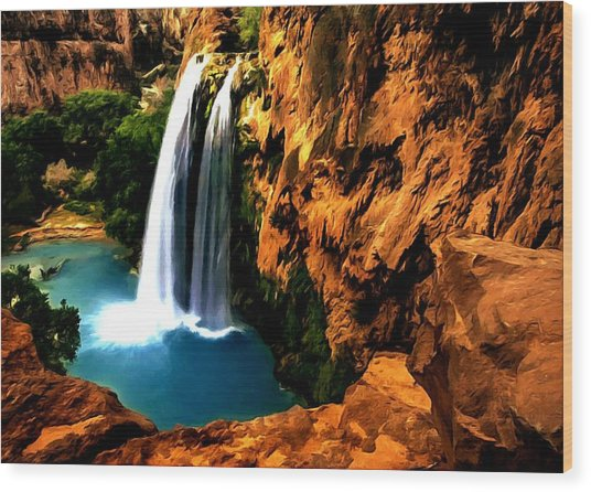 Havasu Waterfall Wood Print