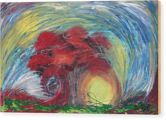 Havoc Winds And Strong Tree Wood Print by Michelle Teague