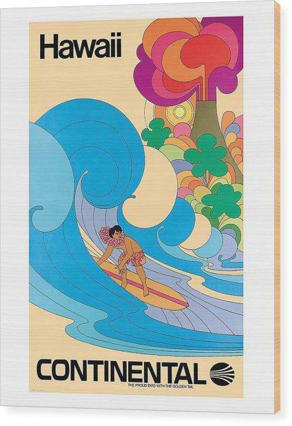 Hawaii Surfer Vintage Hawaiian Travel Poster  Wood Print