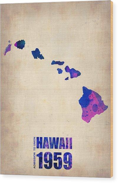 Hawaii Watercolor Map Wood Print