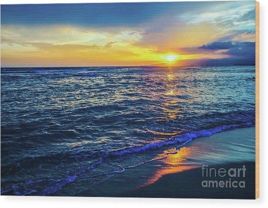 Hawaiian Beach Sunset Wood Print