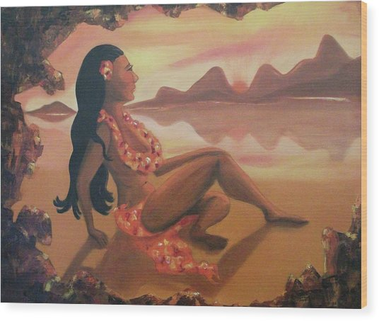 Hawaiian Girl Wood Print by Suzanne  Marie Leclair