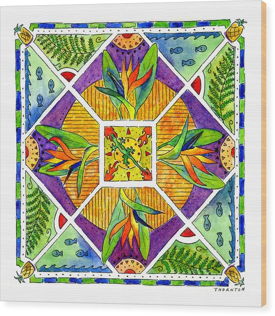 Hawaiian Mandala II - Bird Of Paradise Wood Print