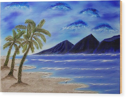 Hawaiian Palms Wood Print by Marie Lamoureaux