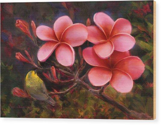 Hawaiian Pink Plumeria And Amakihi Bird Wood Print