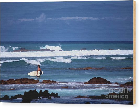 Hawaiian Seascape With Surfer Wood Print