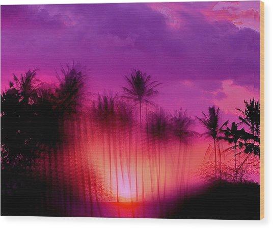 Hawaiian Sunset Wood Print by Phil Powers