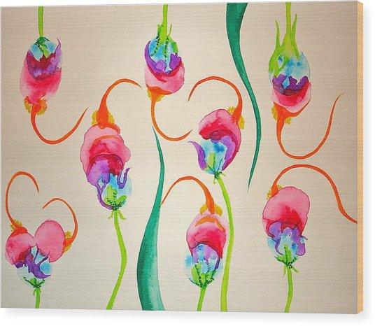 Hawaiian Warrior Upside-down Flowers Wood Print by Erika Swartzkopf