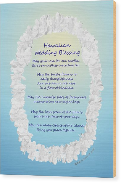 Hawaiian Wedding Blessing Wood Print
