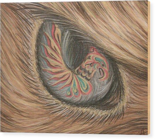Hawk Eye Thunderbird Wood Print by Alysa Sheats