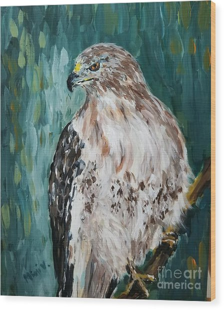 Wood Print featuring the painting Hawk by Maria Langgle