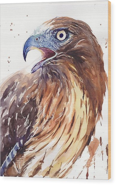 Hawk Watercolor Wood Print