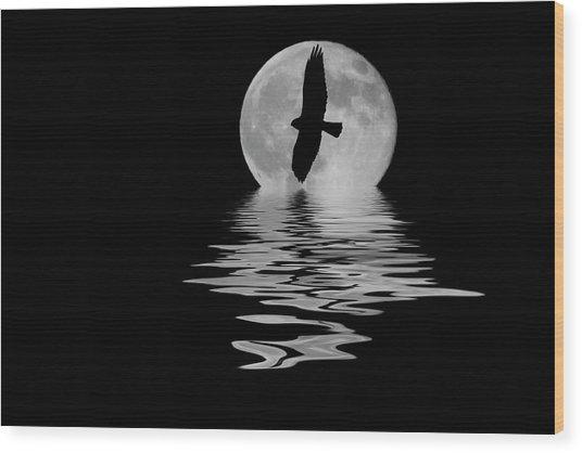 Hawk In The Moonlight 2 Wood Print
