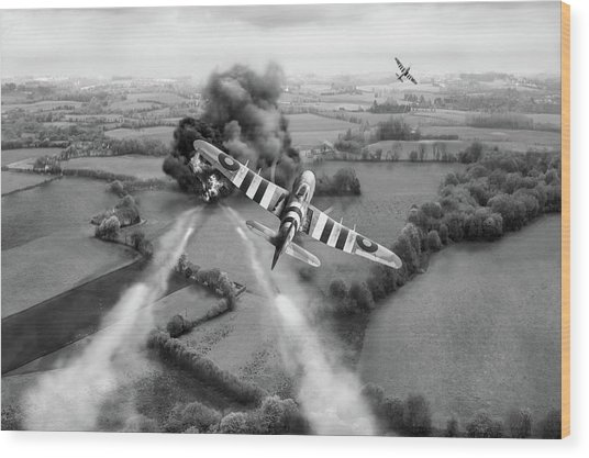 Wood Print featuring the photograph Hawker Typhoon Rocket Attack Bw Version by Gary Eason
