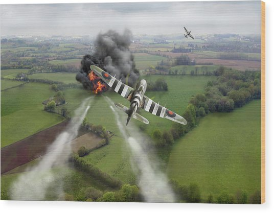 Wood Print featuring the photograph Hawker Typhoon Rocket Attack by Gary Eason