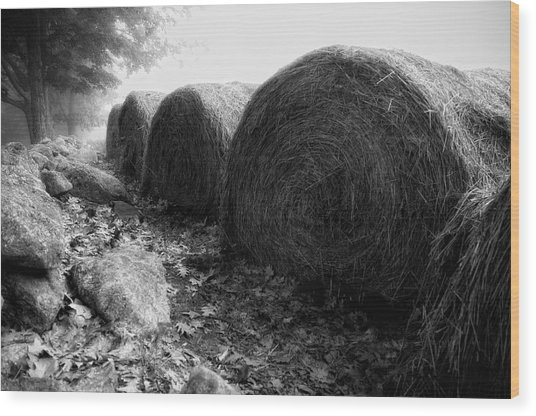 Hay Bales Paxton Ma Wood Print by Richard Danek