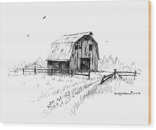 Hay Barn With Broken Gate Wood Print