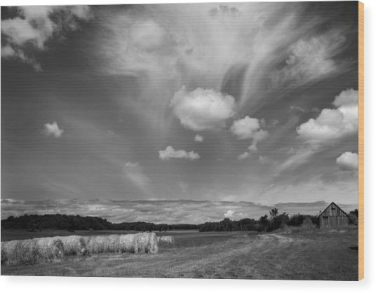 Hay Field And Barn Clarks Lake Road Wood Print by Stephen Mack