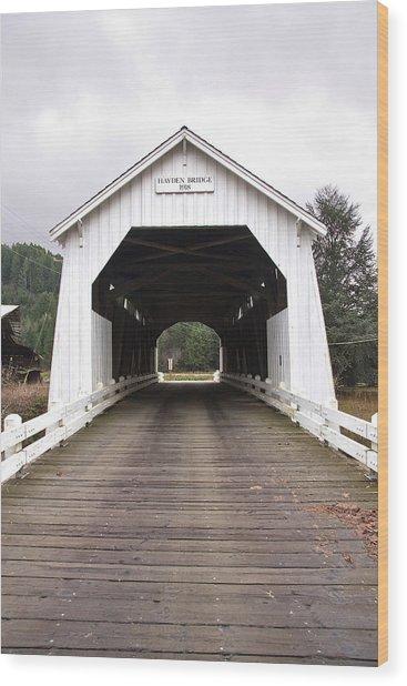 Hayden Bridge Covered Bridge Wood Print by John Higby